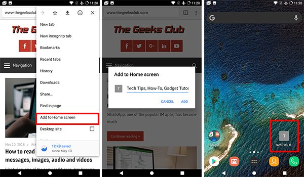 How to Bookmark website to homescreen