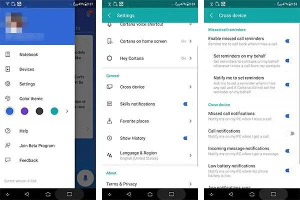 Cortana Cross Platform Settings