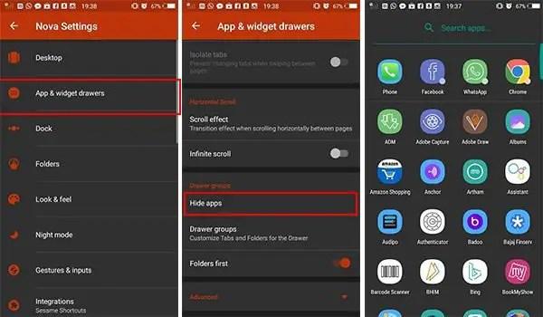 Hide apps in Nova Launcher