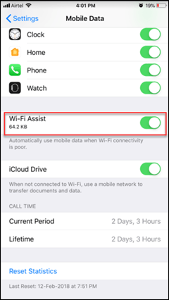 Disable Wi-Fi Assist