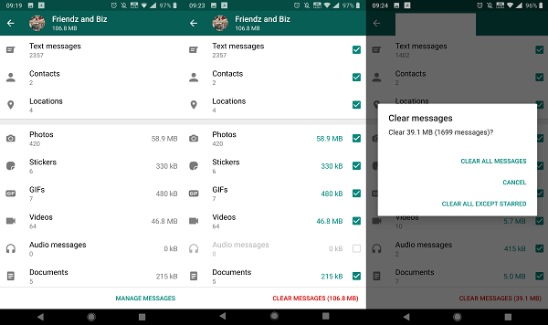 Delete individual files types from WhatsApp Chat