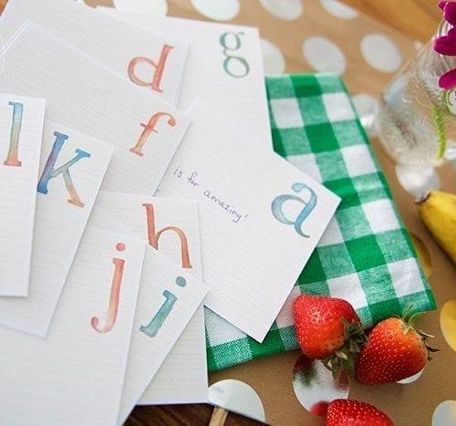 lunch box alphabet notes