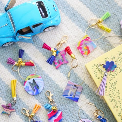 easy marbleized keychains