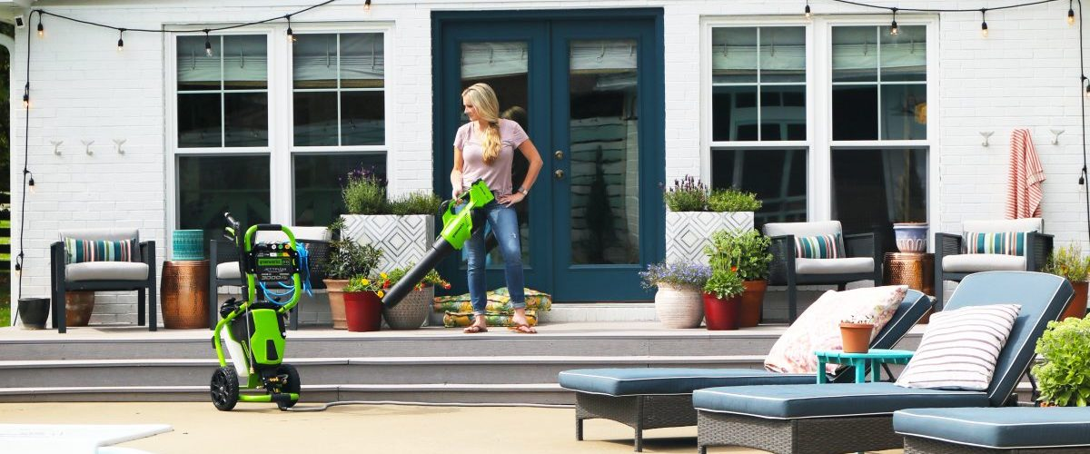 greenworks deals for prime day + a back porch clean up