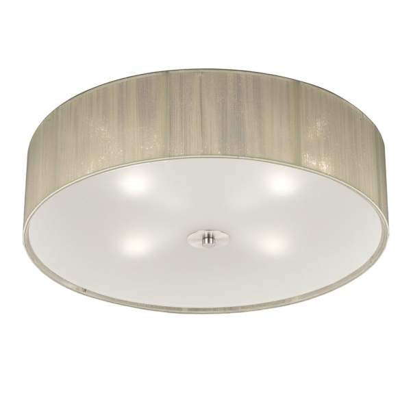 Franklite Lighting Desire Modern Flush Ceiling Light With Cream     Desire Modern Flush Ceiling Light With Cream Shade And Glass Diffuser  FL2341 4
