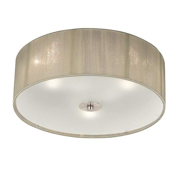 Franklite Lighting Desire Small Flush Ceiling Light With Cream Shade     Desire Small Flush Ceiling Light With Cream Shade And Glass Diffuser  FL2341 3