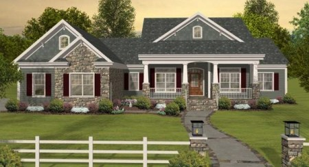 The Long Meadow 1169   3 Bedrooms and 3 5 Baths   The House Designers Front Elevation