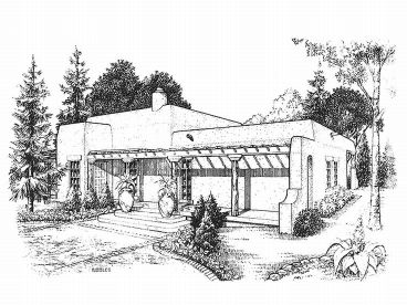 Adobe House Plans   Small Southwestern Adobe Home Plan Design  008H     Front View  008H 0021