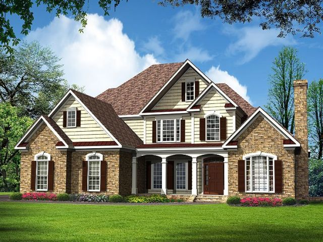 Traditional House Plans   Luxurious Two Story Traditional Home Plan     Traditional Home Design  019H 0151