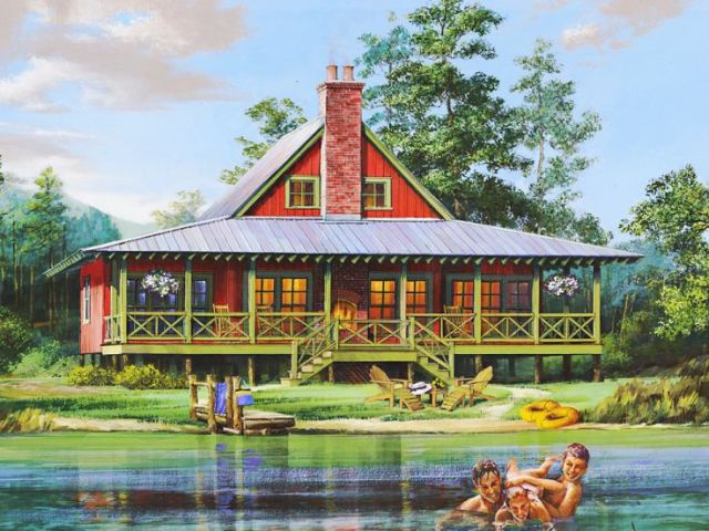 Waterfront House Plans   Waterfront Home Plan Provides Relaxation on     Waterfront Home Plan  063H 0215