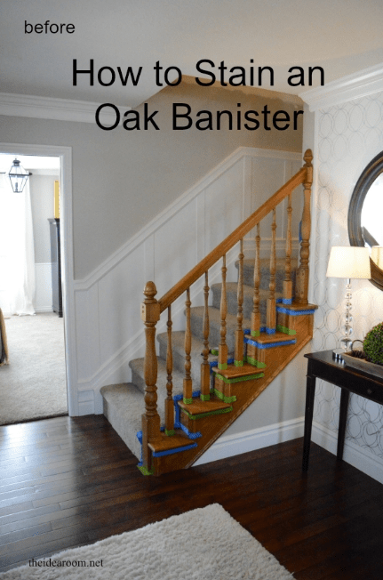 How To Stain An Oak Banister The Idea Room | Cost To Restain Stair Railing | Spindles | Refinishing Hardwood Stairs | Baluster | Sanding | Paint
