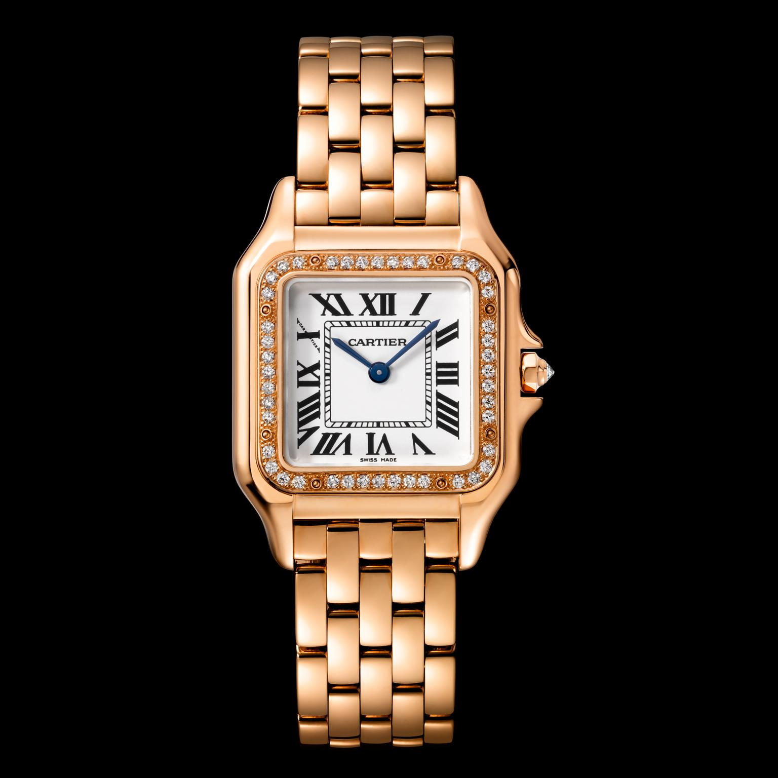 Medium size Panth    re de Cartier watch in rose gold with diamonds     Medium size Panth    re de Cartier watch in rose gold