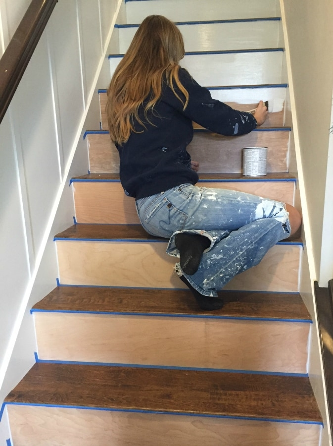 Stairway Makeover Swapping Carpet For Laminate The Lilypad Cottage   Replacing Carpeted Stairs With Hardwood   Stair Tread   Staircase Makeover   Hardwood Flooring   Stair Case   Laminate Flooring
