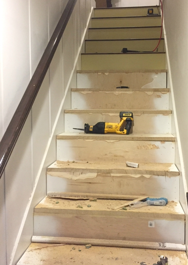 Stairway Makeover Swapping Carpet For Laminate The Lilypad Cottage | Converting Carpeted Stairs To Wood | Stair Tread | Staircase Makeover | Laminate Flooring | Wood Flooring | Risers