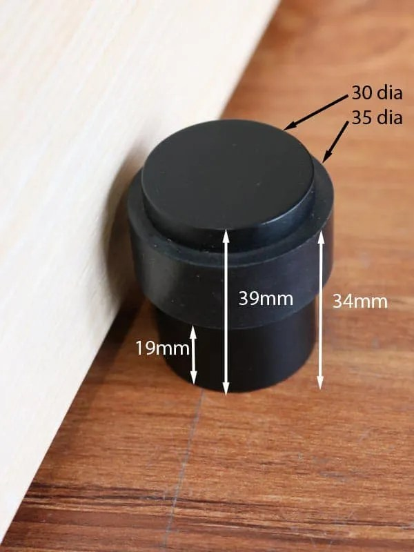 Door Stop Matte Black Round Floor Mounted Commercial Or