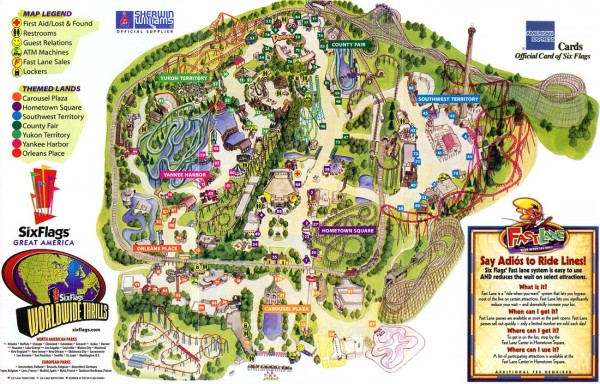 Theme Park Brochures Six Flags Great America   Theme Park Brochures Download Map  Location  Gurnee  Illinois Date  2003