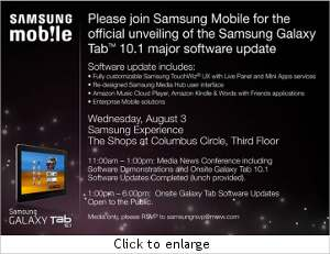 Samsung Galaxy Tab 10.1 to get Android 3.1 Honeycomb update in August