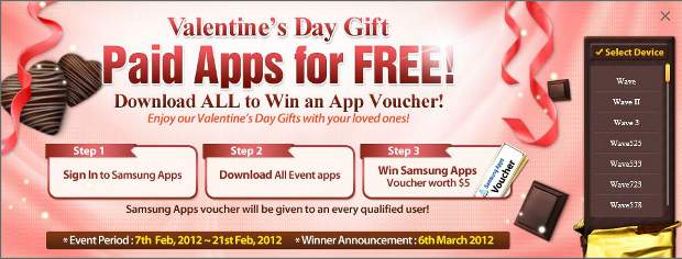 Samsung's Valentine's Day offer: free paid apps for all