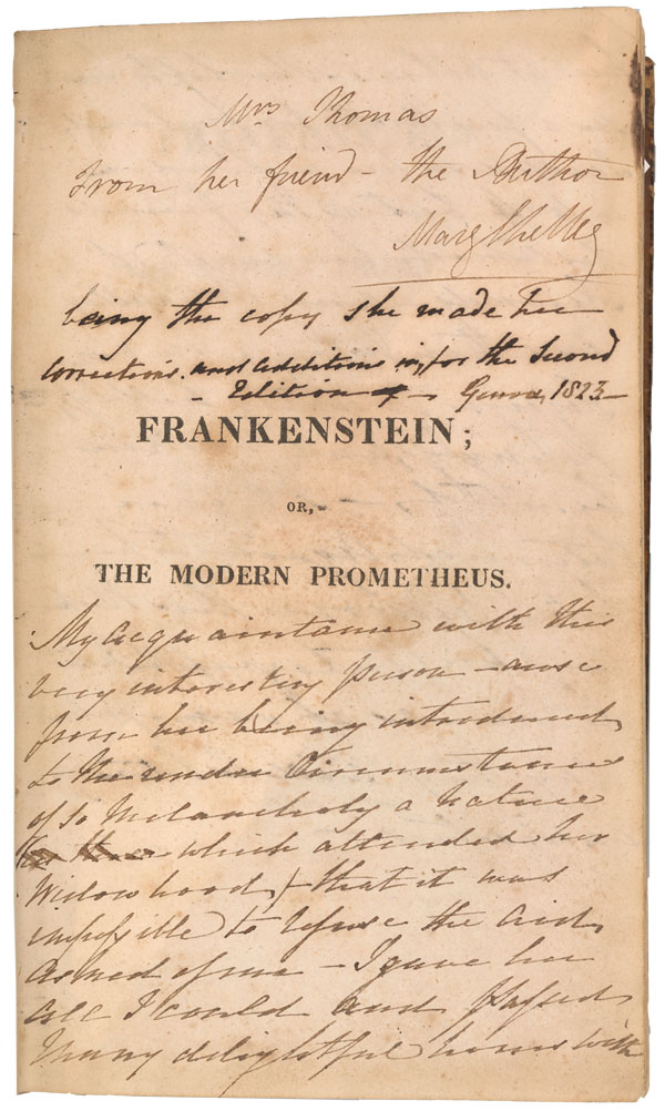 A Novel for Halloween: Mary Shelley's annotated copy of ...