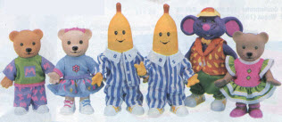 1997 Popular boys and girls toys from the Nineties including Power     Bananas in Pajamas Figure Set From The 1990s