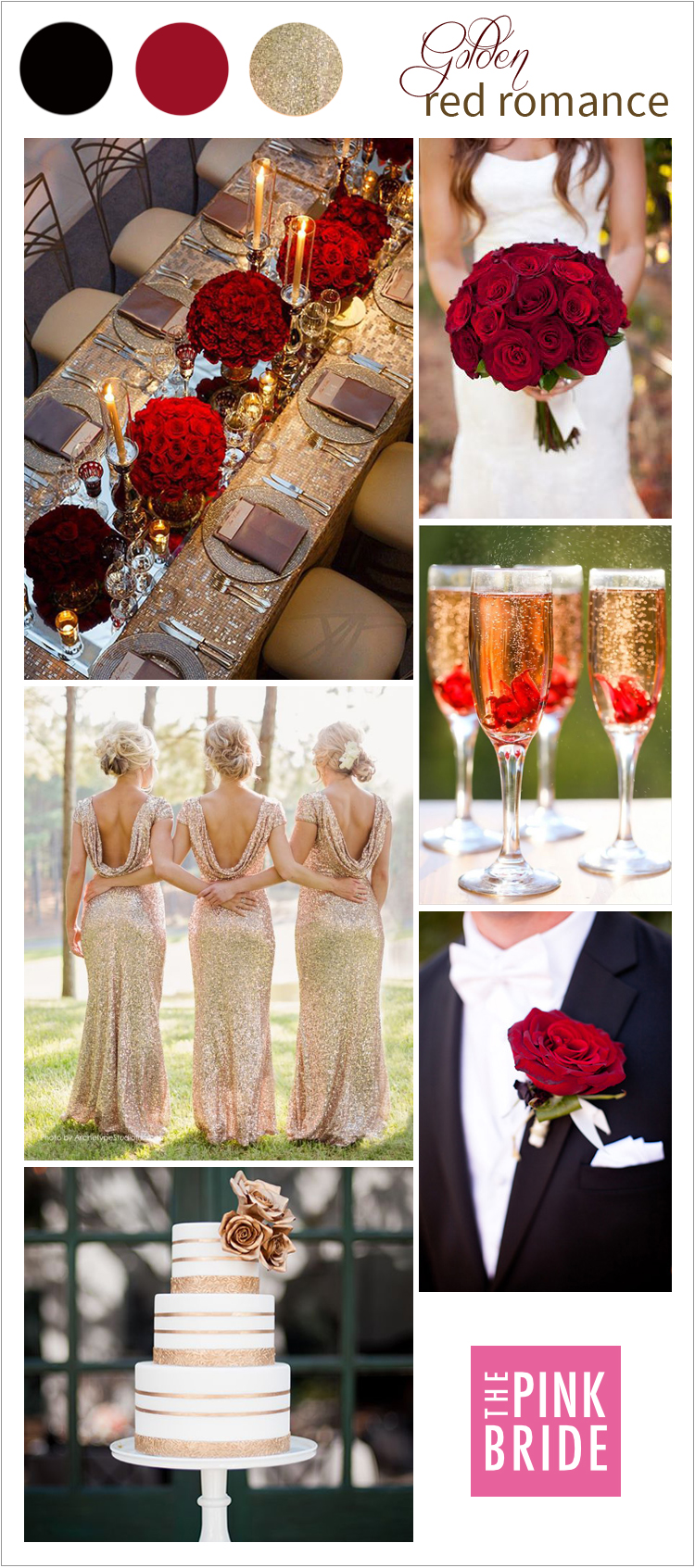 Wedding Color Board Golden Red Romance The Pink Bride
