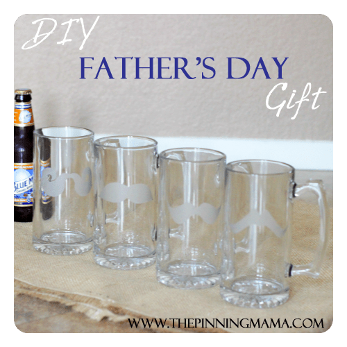 Father's Day Gift Custom Glass Etched Mustache Mugs by www.thepinningmama.com