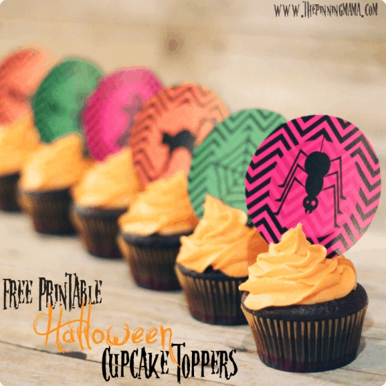 Free Printable Halloween Cupcake Toppers by www.thepinningmama.com