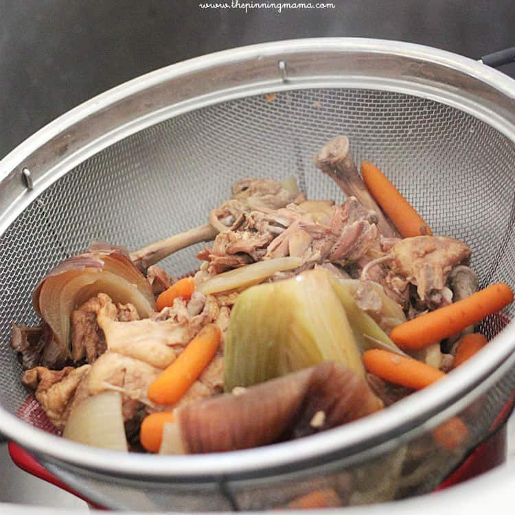 Slow Cooker Chicken Broth made with left over rotisserie chicken by www.thepinningmama.com #crockpot #recipe