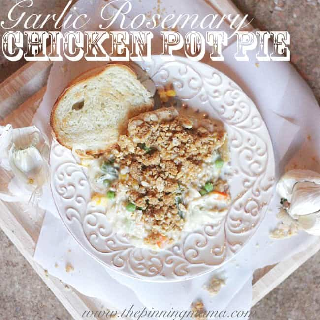 Such an easy week night dinner. Garlic Rosemary Chicken Pot Pie recipe