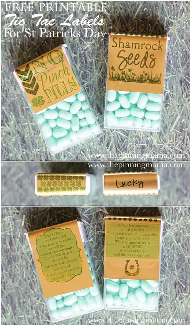 Free Printable Tic Tac Labels for Saint Patrick's Day