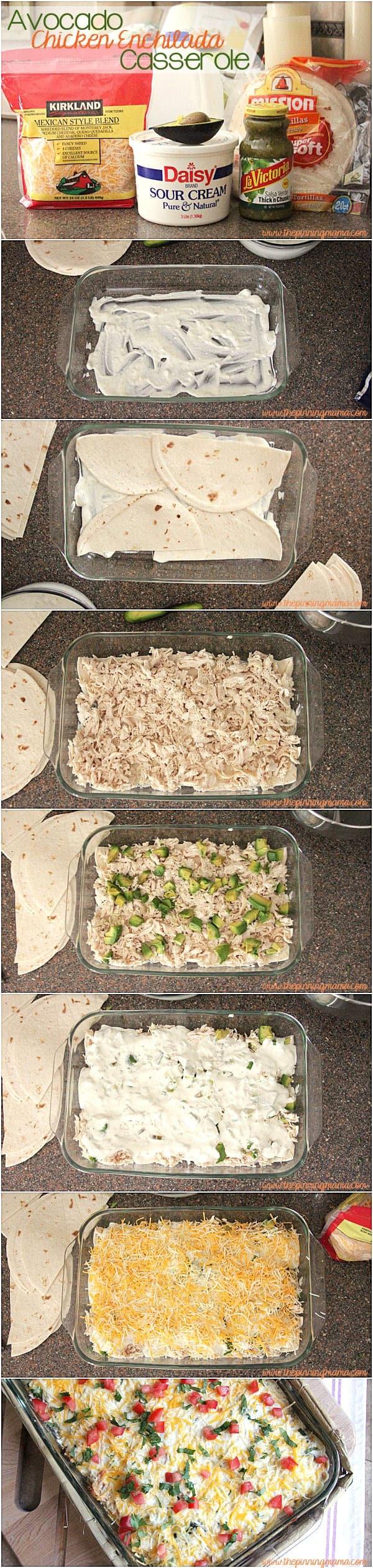 An easy layered dinner! Avocado Chicken Enchilada Casserole
