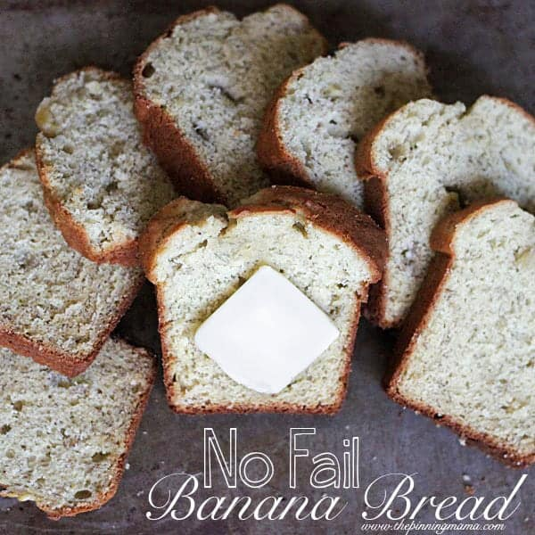 No fail banana bread recipe- ALWAYS moist, high rising, and full of flavor! So simple too!
