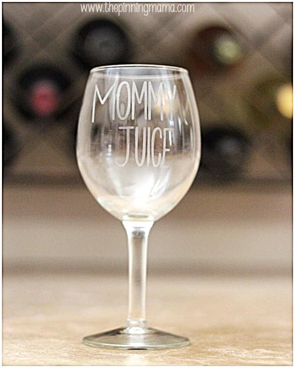 DIY Etched Glass Mommy's Juice Wine Glass + Silhouette Cameo Discount and Promo Coupon Code
