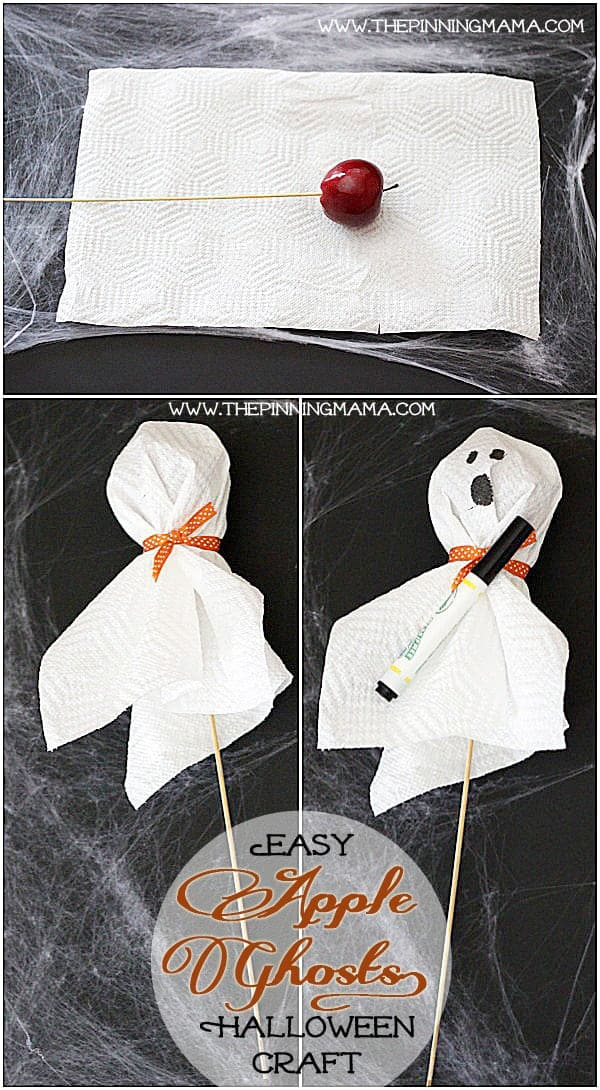A quick, easy and healthy Halloween craft to do with your kids! Apple Ghost Halloween Treats.