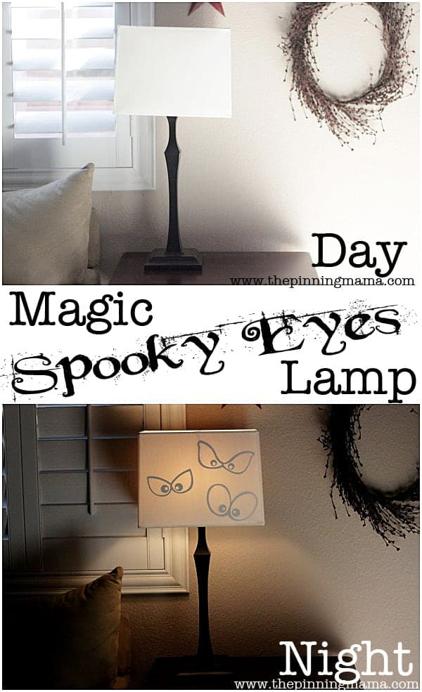 Every one will oooohhh and ahhhh as the spooky eyes magically appear as the lamp comes on in this easy Halloween DIY!