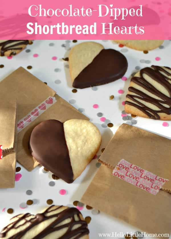 Chocolate-Dipped Shortbread Hearts | Hello Little Home for The Pinning Mama #ValentinesDay #Cookies