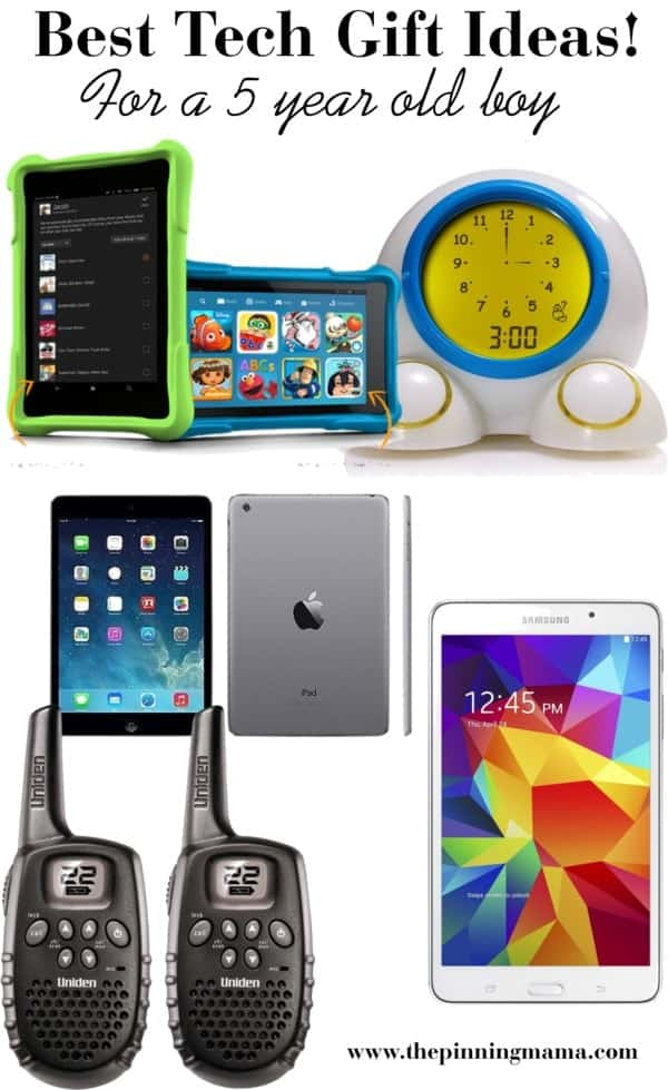 Best Tech Gift Ideas for a 5 Year Old Boy! Including Tablets, Alarm Clocks, walkie talkies, and interactive learning toys