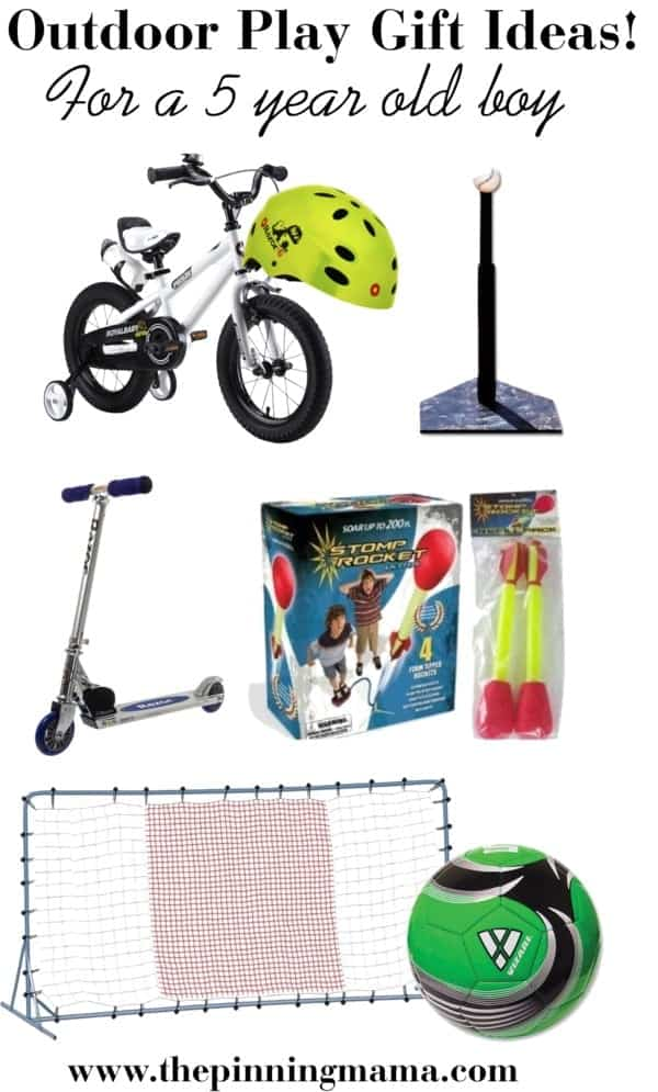 Best Outdoor Play Gift Ideas for a 5 Year Old Boy! Including Bike, baseball tee, scooter, stomp rocket toy, soccer goal and ball