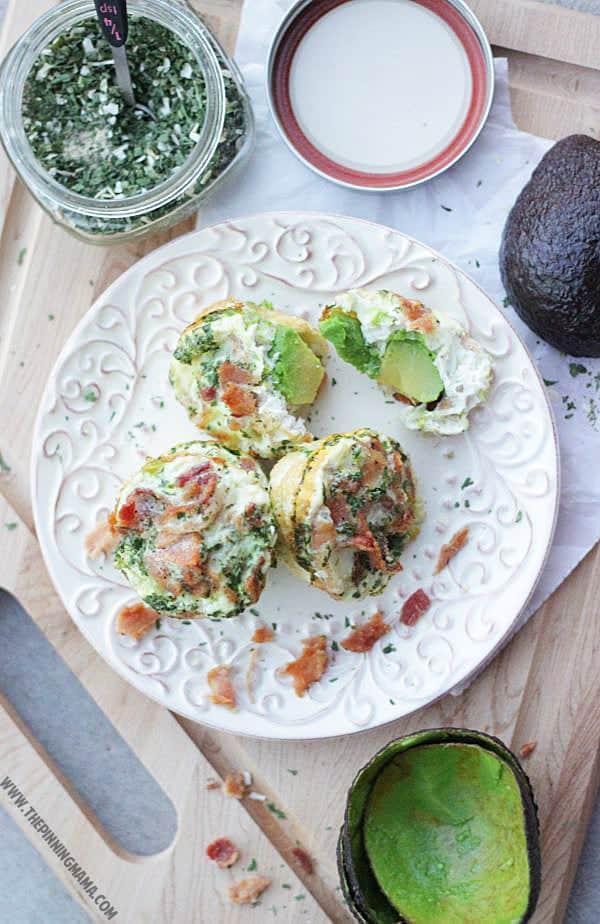 Paleo Bacon Avocado Ranch Egg Muffin.  YUM!
