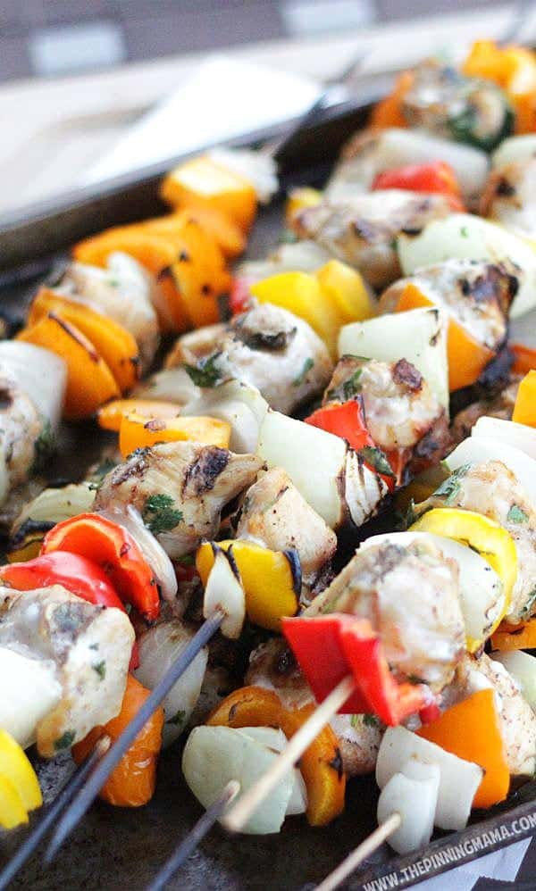 Paleo Fajita Kabobs on the grill. This is perfect for when we have company because everyone can customize their own! Whole30 compliant