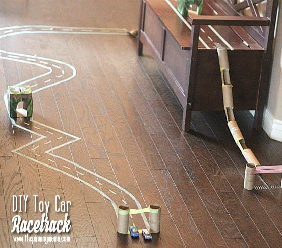Such a GREAT idea! My kids would love this rainy day activity! DIY hot wheels race track!