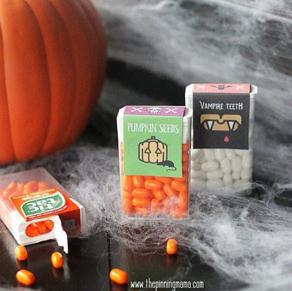 Halloween Printables - Pumpkin Seeds and Vampire Teeth Tic Tac Labels.  Too cute!