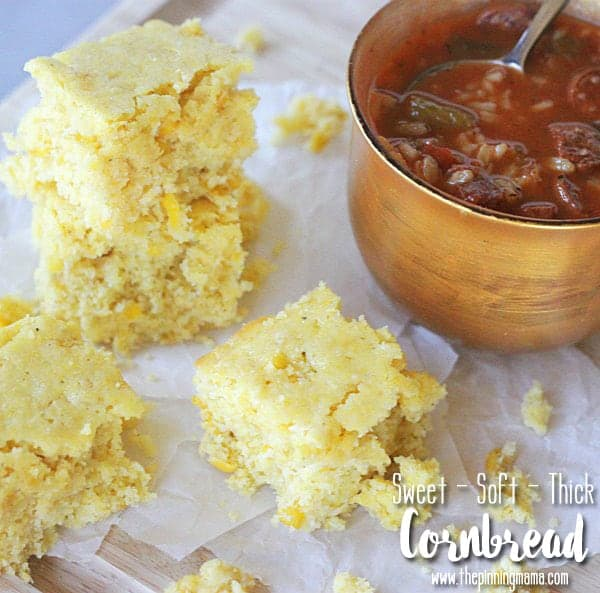 The perfect thick, soft, and sweet cornbread recipe.  Made with 3 simple ingredients the creamed corn makes a world of difference!