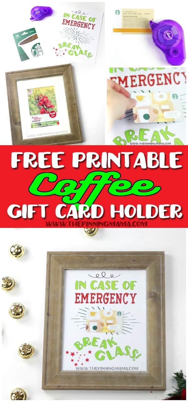 A super fun and creative way to give a gift card to any coffee lover! Just print the free printable, attach the gift card and put into a frame