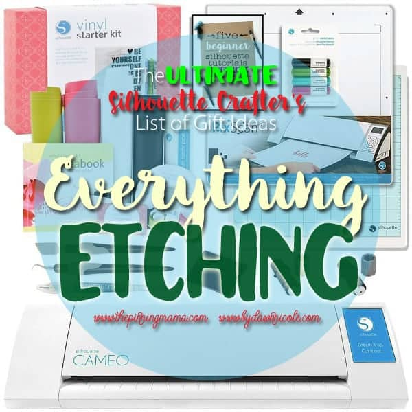 Everything you need to do Glass Etching projects with your Silhouette CAMEO.  This is the best list I have seen!  Pinning to save for later.