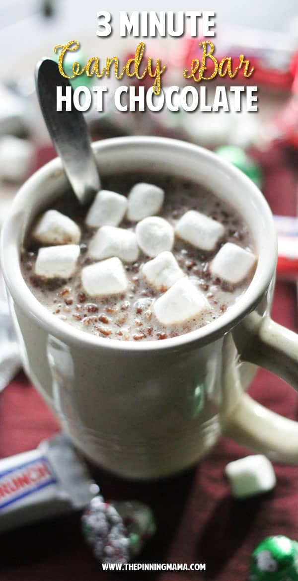 This hot chocolate recipe is so simple to make the kids can do it on their own!  Total bonus it uses up the leftover candy!