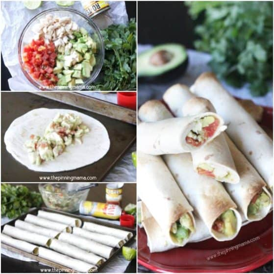 You won't believe how easy these taquitos are to make! Chicken, avocado, lime and rotel. These are TO DIE FOR delicious!!