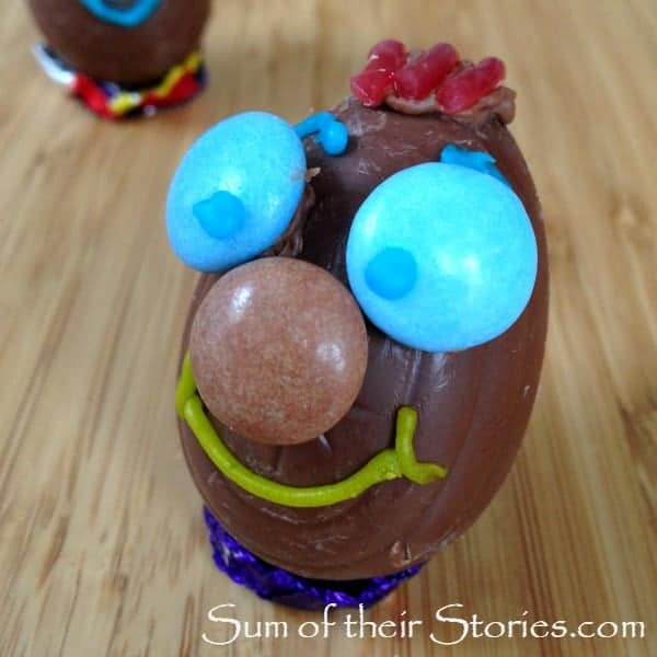 Fun easter egg face with smartie eys