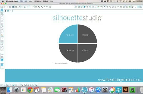 Open Silhouette Studio and Choose DESIGN to create your own design to cut with Silhouette CAMEO