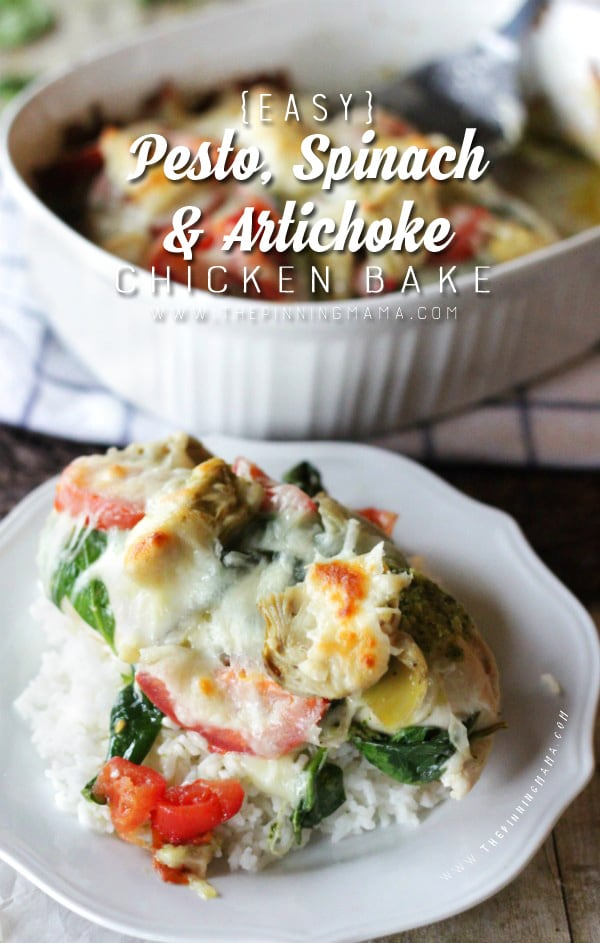 Healthy dinner idea- Easy Spinach Artichoke Pesto Chicken Bake Recipe. This only takes about 10 minutes to make and everyone raves about how good it is!!